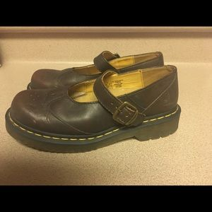 Doc Martens Mary Janes Brown Buckle Women 8